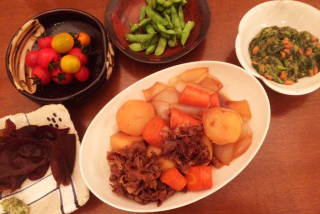 おとといの夫が作った晩御飯:肉じゃが_d0339885_12554335.jpg