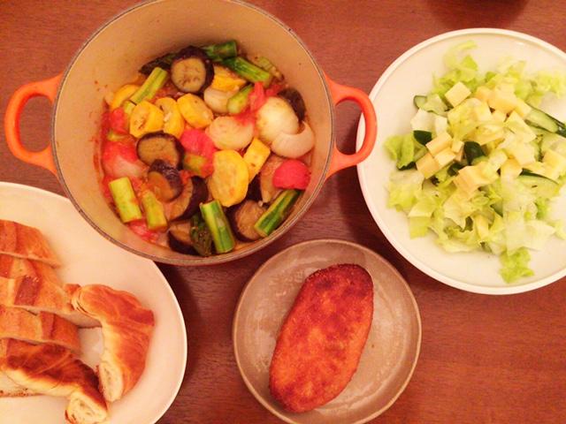 夫が作った晩御飯:カポナータ_d0339885_12561576.jpg