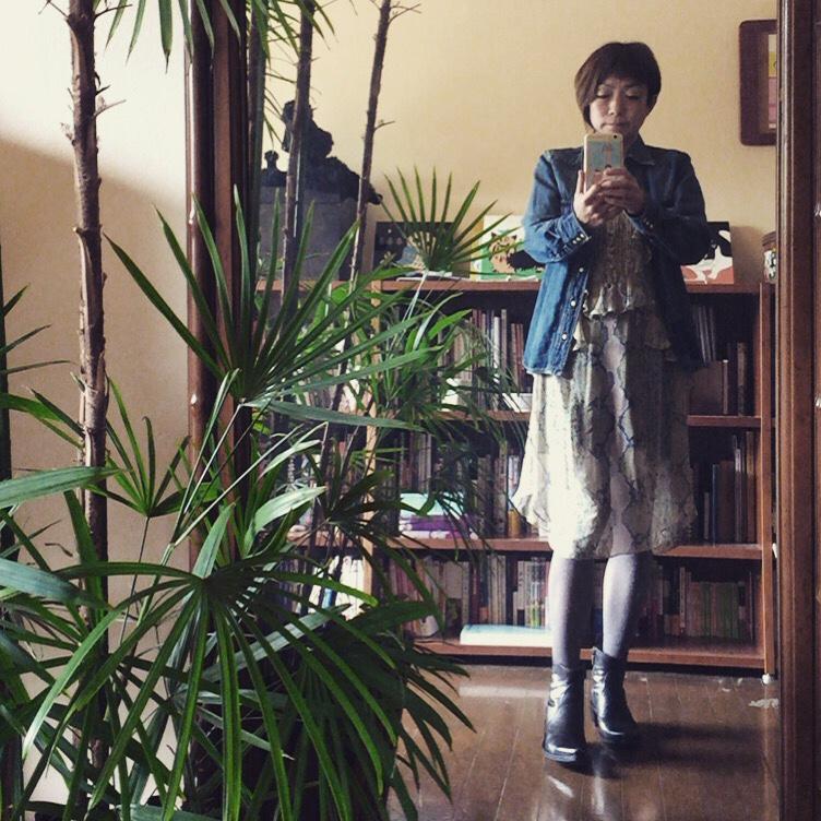 今日のファッション:ドレスキャンプの蛇柄ワンピース_d0339885_12563389.jpg