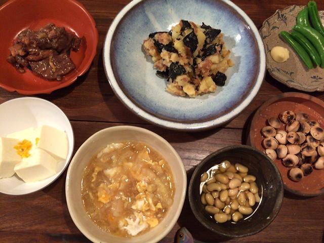 夫が作った晩御飯:和風ポテサラ_d0339885_12573118.jpg