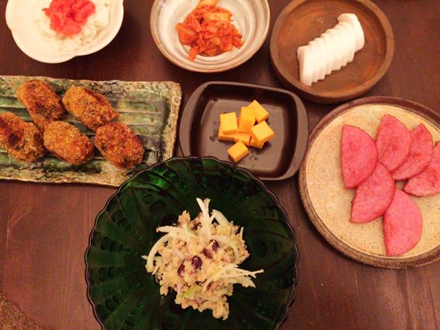 夫が作った晩御飯:カボチャコロッケ_d0339885_12573998.jpg
