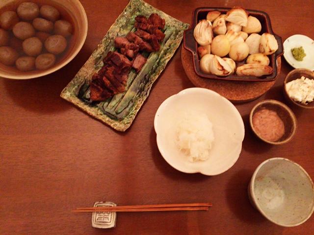 夫が作った晩御飯:豚肉のグリル_d0339885_12574662.jpg