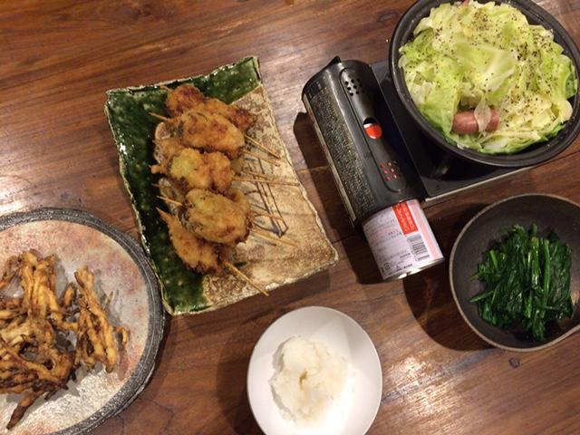 夫が作った晩御飯:ポロ葱の串カツ_d0339885_12580110.jpg