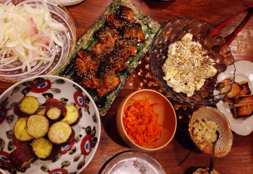 夫が作った晩御飯:サンマの蒲焼き_d0339885_12584785.jpg