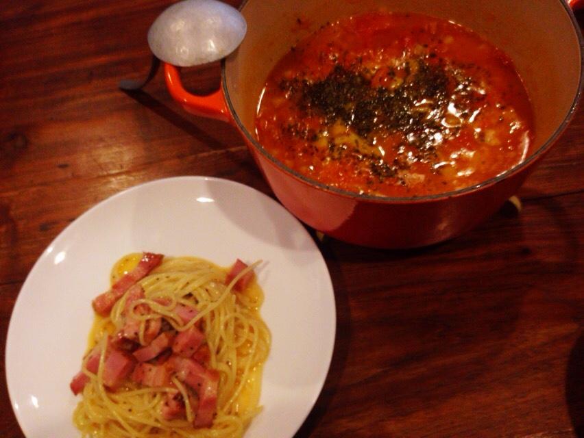 夫が作ったブランチ:トマトスープ_d0339885_12584990.jpg