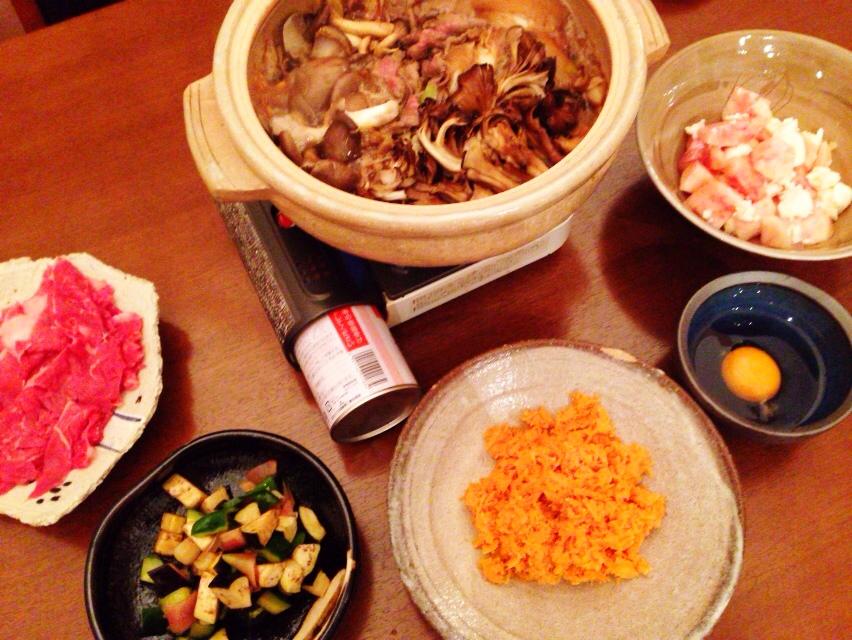 夫が作った晩御飯:すき焼き_d0339885_12591169.jpg
