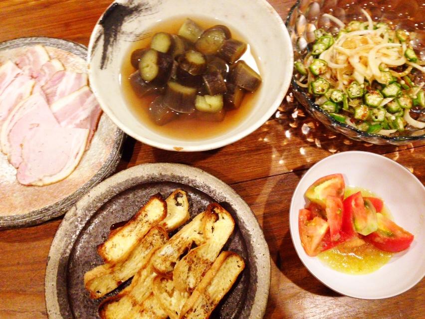 夫が作った晩御飯:ナスの含め煮_d0339885_12591548.jpg