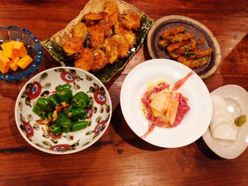 夫が作った晩御飯:桃と生ハムのカッペリーニ_d0339885_12594666.jpg