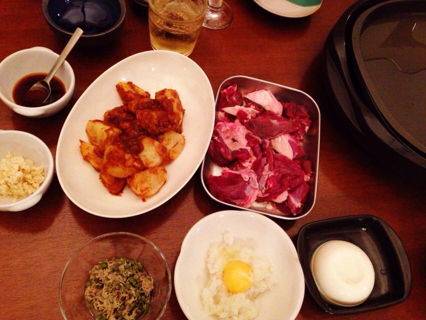 夫が作った晩御飯:イノシシの焼肉_d0339885_12595979.jpg