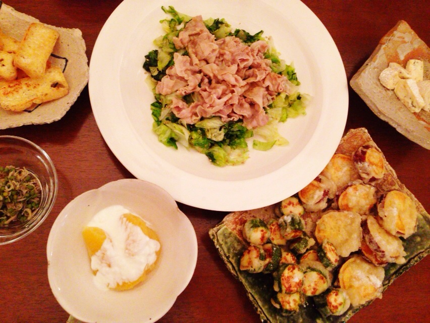 夫が作った晩御飯:豚しゃぶ_d0339885_13002598.jpg