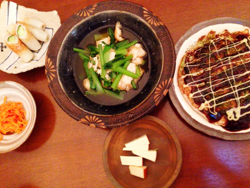 夫が作った晩御飯:お好み焼き風_d0339885_13002626.jpg