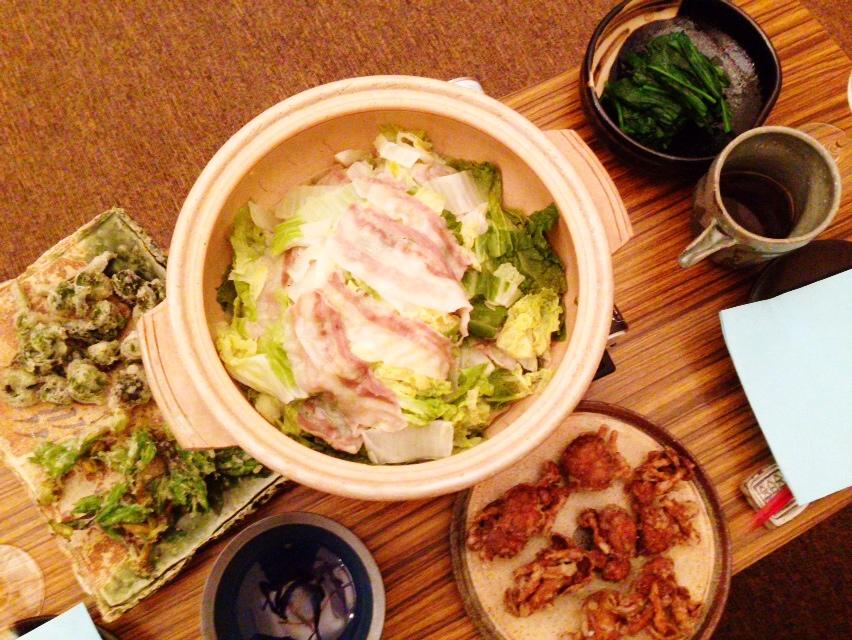 夫が作った晩御飯:こごみの天ぷら_d0339885_13011045.jpg
