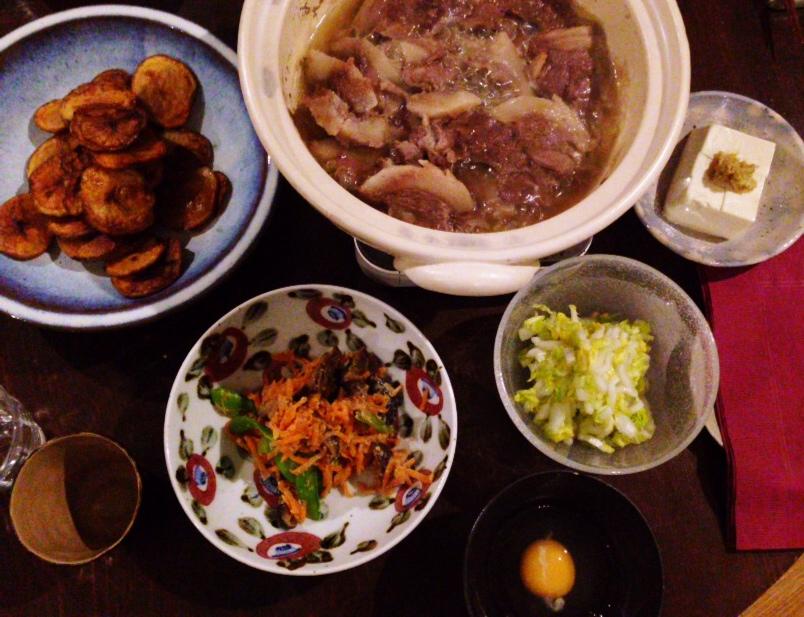 夫が作った晩御飯:イノシシ塩すき焼き_d0339885_13012961.jpg