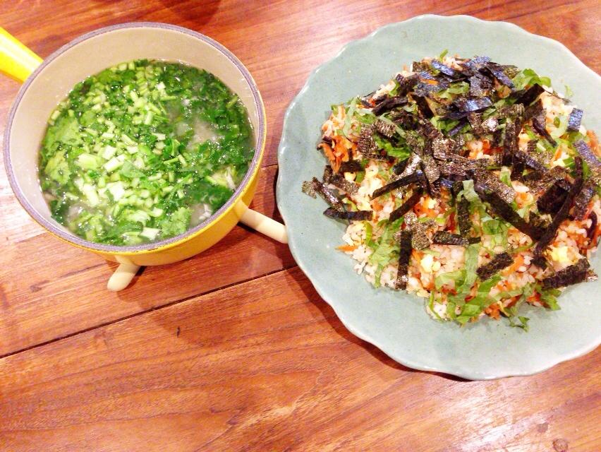 夫が作ったブランチ:野菜たっぷりちらし寿司_d0339885_13015134.jpg