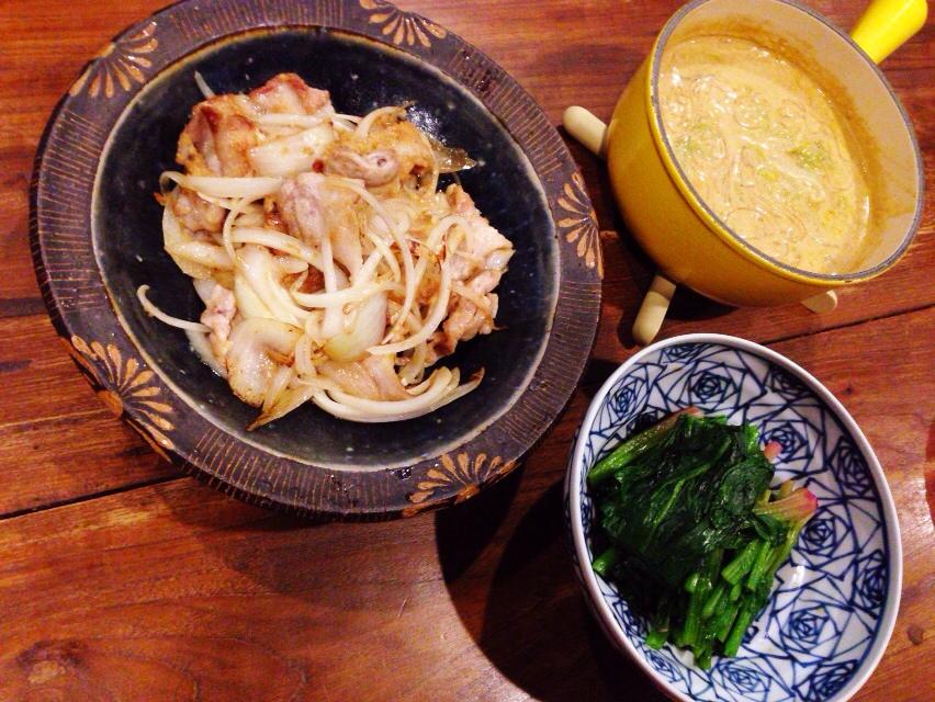 夫が作ったブランチ:白菜のカレースープ煮_d0339885_13015336.jpg