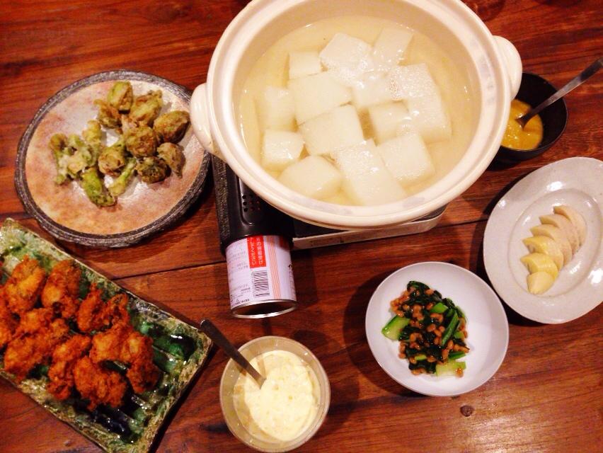 夫が作った晩御飯:ふろふき大根鍋_d0339885_13020248.jpg