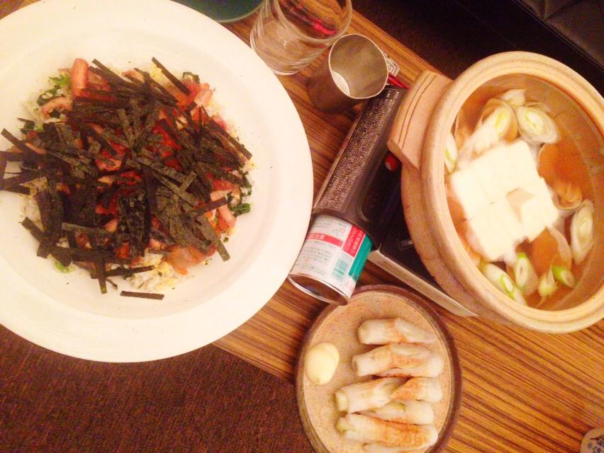 夫が作った晩御飯:ちらし寿司_d0339885_13020861.jpg