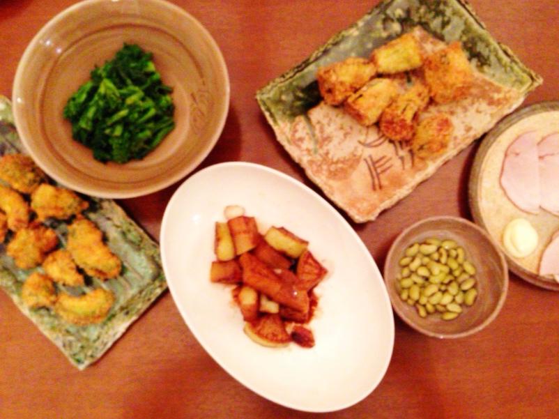 夫が作った晩御飯:茄子のフライ_d0339885_13020996.jpg