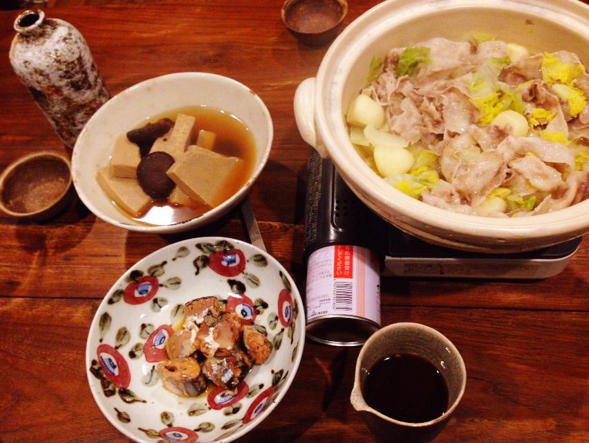 夫が作った晩御飯:高野豆腐と原木椎茸の含め煮_d0339885_13021642.jpg