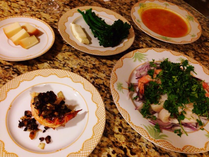 夫が作った晩御飯in Hawaii:ロブスターのマッシュルームと醤油のソース_d0339885_13022284.jpg