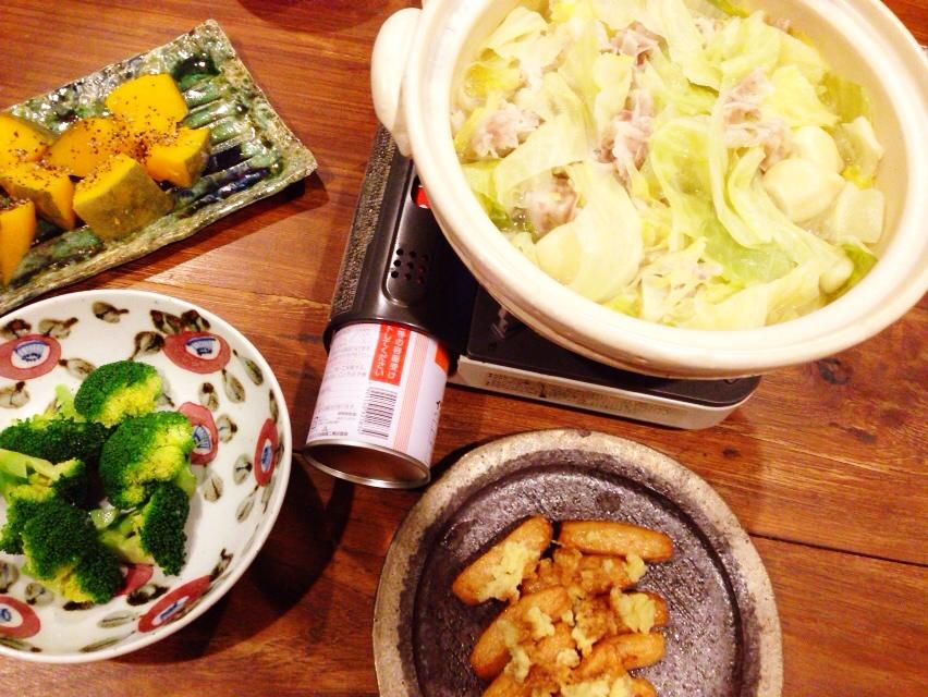 夫が作った晩御飯:我が家の超定番、にんにく鍋_d0339885_13022688.jpg