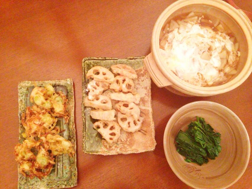 夫が作った晩御飯:ネギのかき揚げ_d0339885_13024171.jpg
