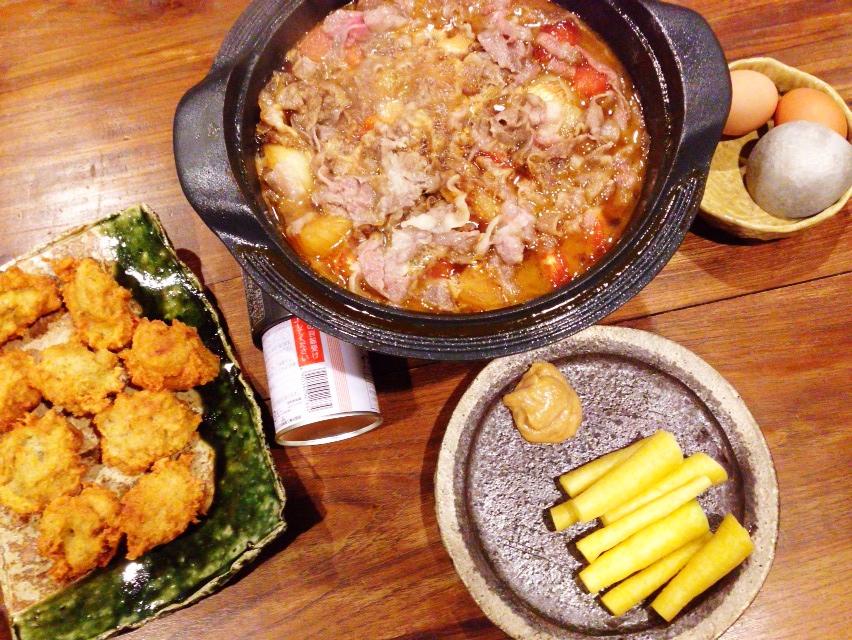 夫が作った晩御飯:トマトすき焼き_d0339885_13025285.jpg