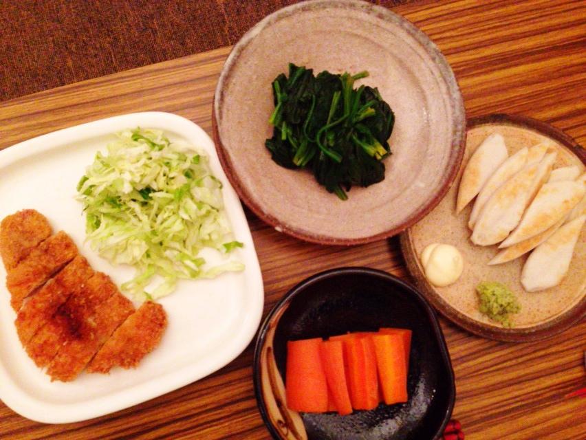 夫が作った晩御飯:とんかつ_d0339885_13025717.jpg