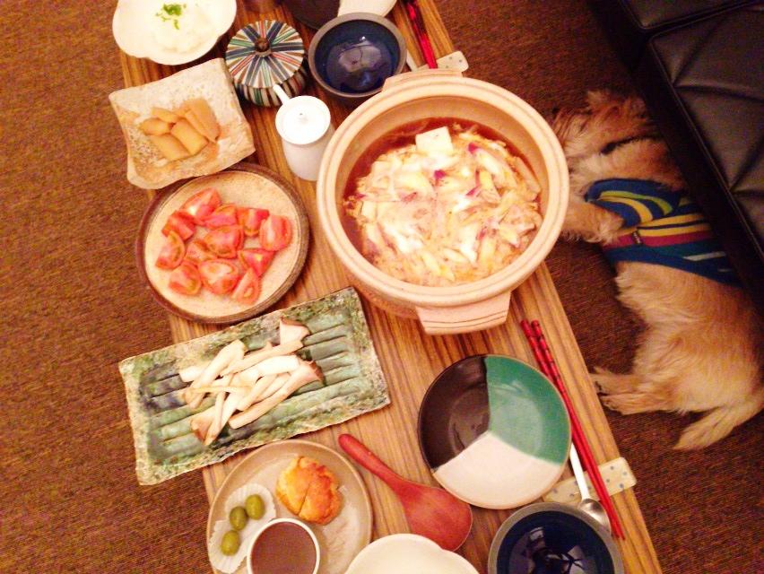 夫が作った晩御飯:鶏すき焼き鍋_d0339885_13030045.jpg