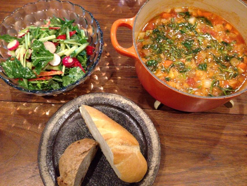 夫が作ったブランチ:野菜サラダ_d0339885_13031861.jpg