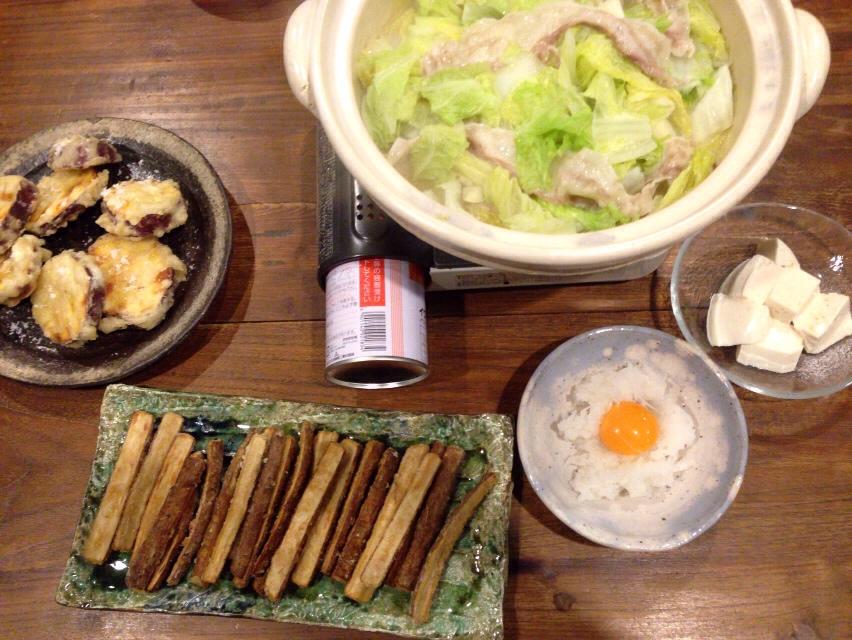 夫が作った晩ご飯:ゴボウ天_d0339885_13032537.jpg