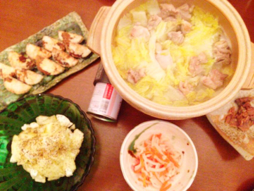 夫が作った晩御飯:水炊き_d0339885_13033844.jpg