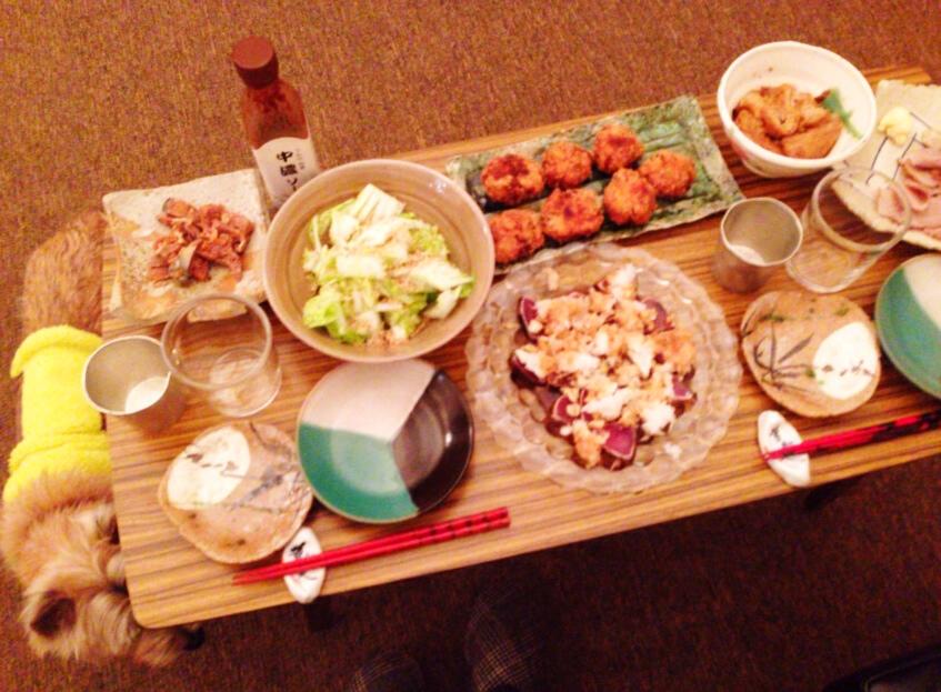 夫が作った晩御飯:鰹のたたき_d0339885_13034096.jpg