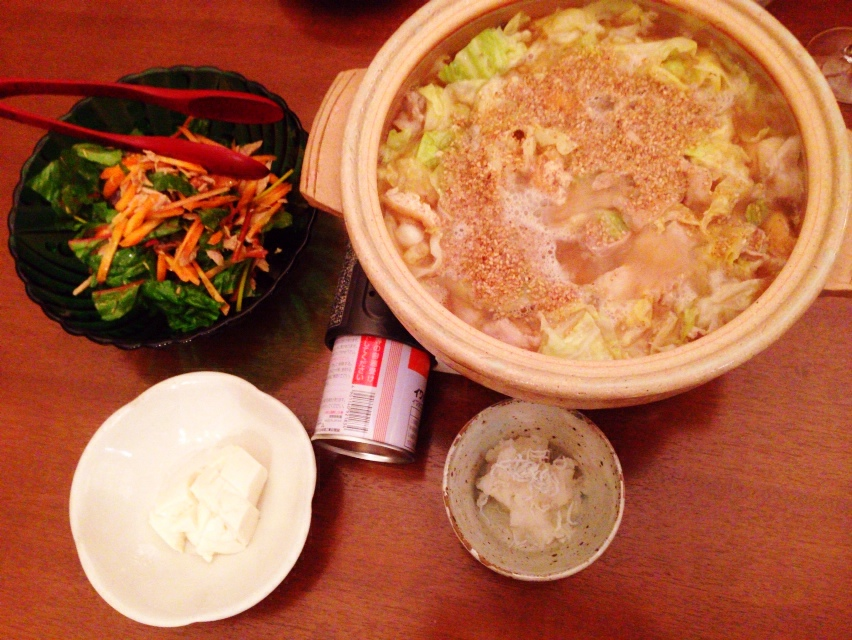 夫が作った晩御飯:ちゃんこ鍋_d0339885_13034110.jpg