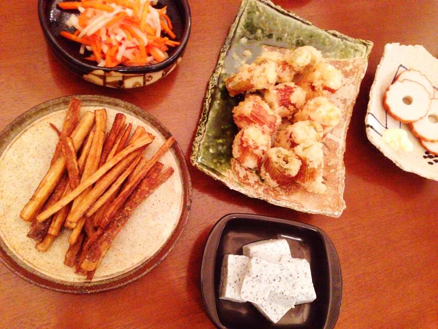 夫が作った晩御飯:下仁田ネギのフライ_d0339885_13034202.jpg