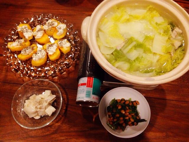 夫が作った晩御飯:柿とマスカルポーネ_d0339885_13035433.jpg