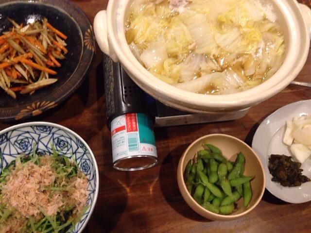 夫が作った晩御飯:白菜と鳥の鍋_d0339885_13040322.jpg