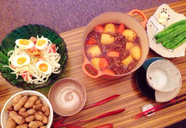 夫が作った晩御飯:肉じゃが_d0339885_13040919.jpg