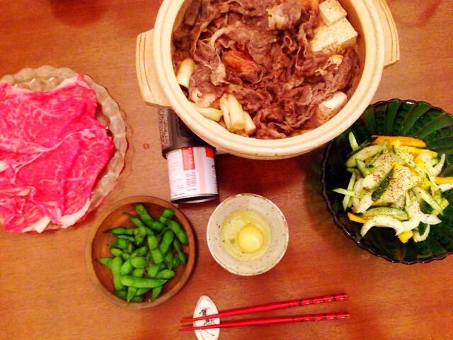 夫が作った晩御飯:すき焼き_d0339885_13043327.jpg