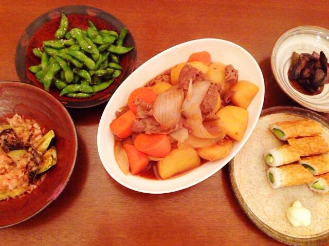 夫が作った晩ご飯:肉じゃが_d0339885_13044241.jpg