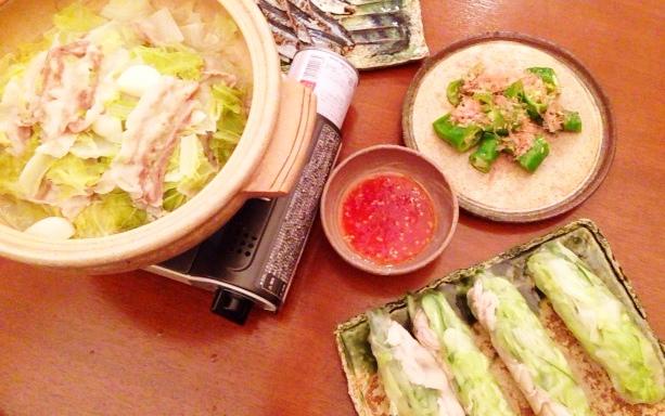 夫が作った晩ご飯:にんにく鍋_d0339885_13045300.jpg