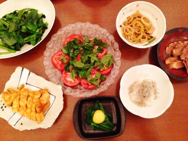 夫が作った晩御飯:蒸しツルムラサキ_d0339885_13054443.jpg