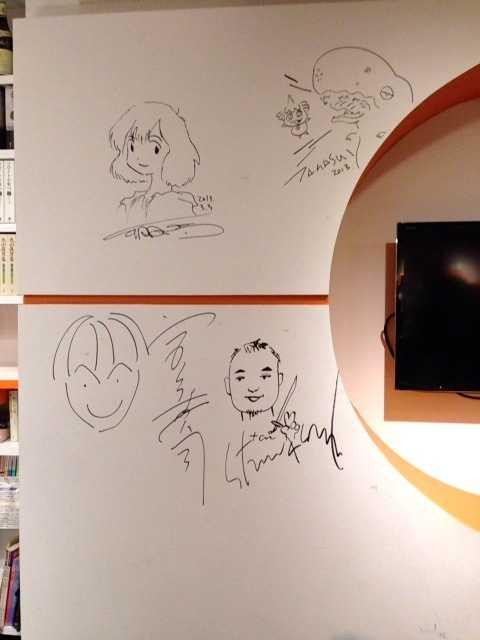 佐々木俊尚×東浩紀トークショー後、村上隆さんのサインの下に夫の似顔絵描いた♪_d0339885_13055378.jpg