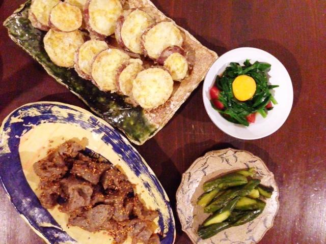 夫が作った晩ご飯:さつまいもの天ぷら_d0339885_13064229.jpg