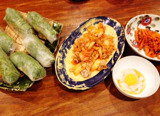 夫が作った晩ご飯:和風生春巻き_d0339885_13072055.jpg