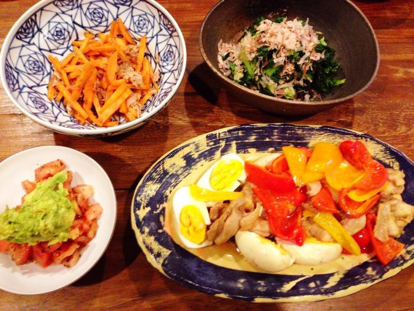 夫が作った晩ご飯:鳥肉と卵とパプリカの料理_d0339885_13073700.jpg