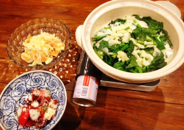 夫が作った晩ご飯:豚肉と野菜のチーズ鍋_d0339885_13074115.jpg