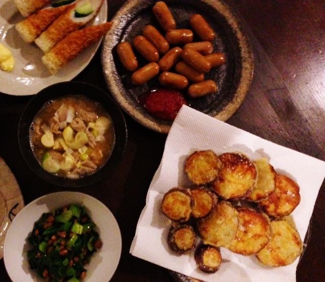 夫が作った晩ご飯:さつまいもの天ぷら_d0339885_13074412.jpg