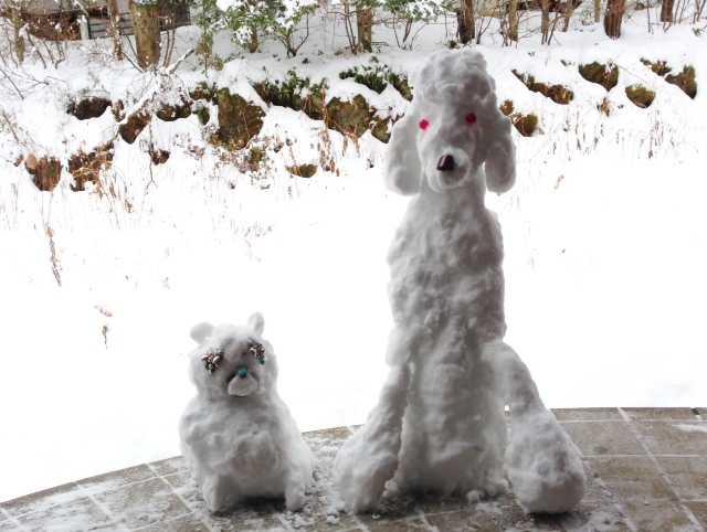 我ながらいい出来かもー♪愛犬たちの等身大雪だるま_d0339885_13083353.jpg