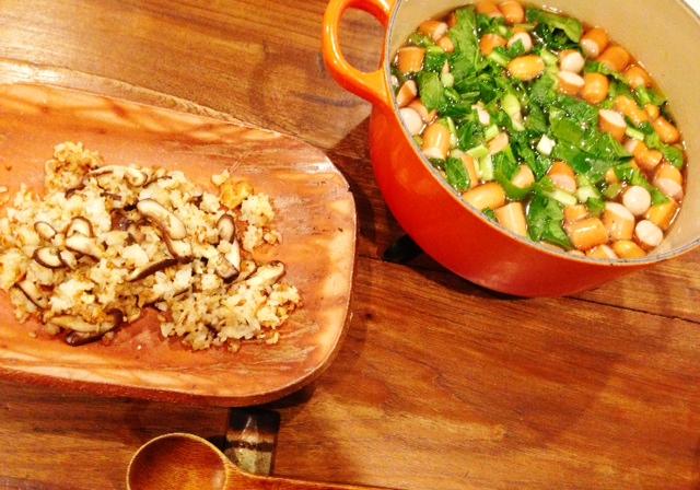 夫が作ったブランチ:椎茸と卵のパラパラ炒飯_d0339885_13083805.jpg